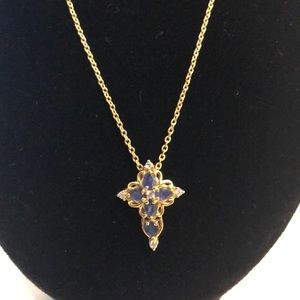 Burmese Blue Sapphire Cross Gold Pendant Necklace